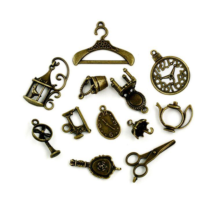 Aproximadamente 106 unids/lote encantos del Vintage 12 estilo mezcla de bronce antiguo encanto de la aleación colgante para mujer joyas venta al por mayor o al por menor ZH BJI009 en Dijes de Joyería en AliExpress.com   Alibaba Group