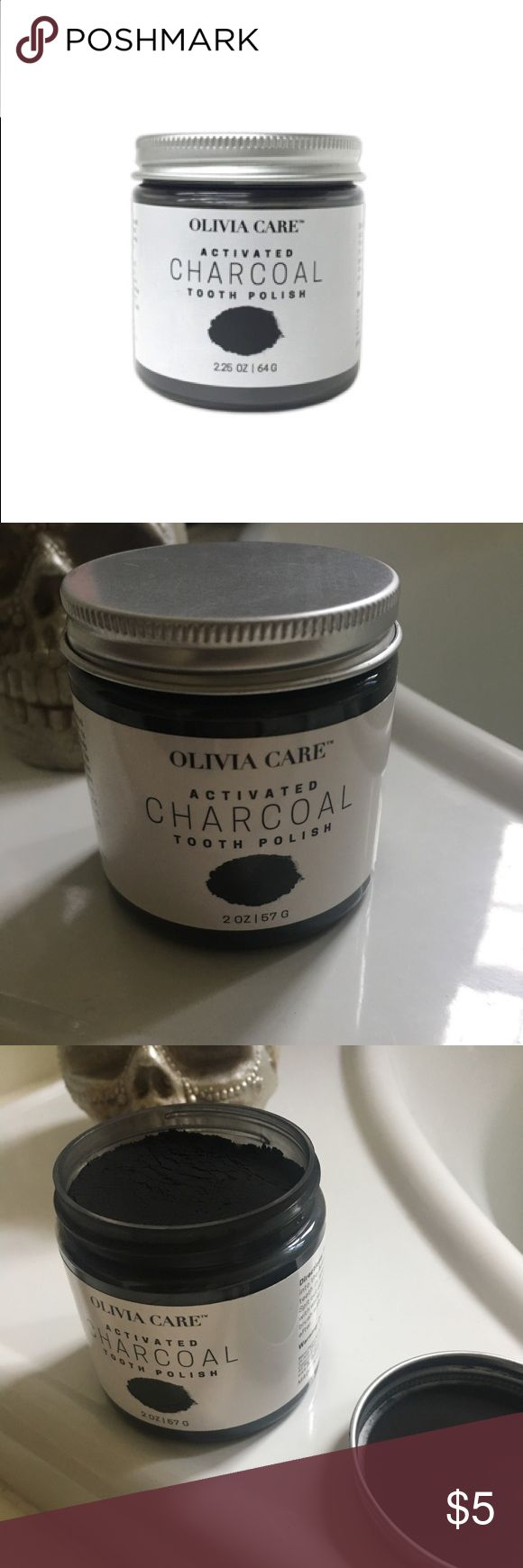 ACTIVATED WHITENING CHARCOAL TOOTH POLISH Used once. Whiten your teeth the natural way with Activated Charcoal Tooth Polish. Activated Charcoal binds to stains on teeth, such as coffee, tea, and wine, to help remove them, leaving teeth whiter and brighter.  Carbon (Activated Charcoal Powder), Kaolin (White Clay), Mentha Piperia (Peppermint) Oil. How: Brush teeth in small gentle circles for two minutes. Spit out carefully,rinse well with water. Use instead of regular toothpaste, or brush with…