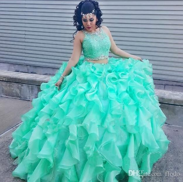 Sexy Mint Green Ruffled Organza Two Piece Quinceanera Dresses 2016 Sheer Crystal Lace Ball Gown Sweet 16 Prom Pageant Dresses Quince Dresses Unique Dresses From Flodo, $153.77| Dhgate.Com