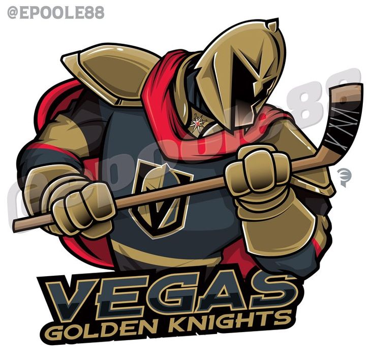 Las Vegas Golden Knights, #EPoole88-style. A Golden Knight wearing the hockey jersey colored in silver with Vegas Gold & red trim with a red cape on his back, gold shoulder pads & a V-shaped knight helmet .