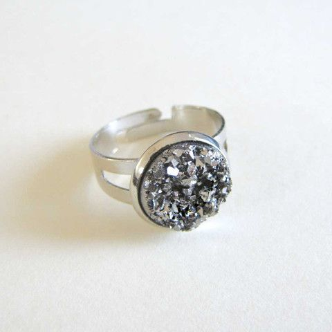 Faux Druzy Ring - Steel only $5 @ OMG! Cute Kitten - Australian Handmade Jewellery