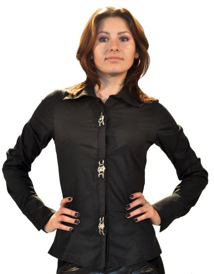 Camasa Dama Black Gold  -Camasa dama casual-elegnt  -Model ce se aseaza bine pe corp si va va pune talia in evidenta  -Detalii aurii in fata     Lungime: 56cm  Latime talie: 38cm  Compozitie: 95%Bumbac, 5%Elasten