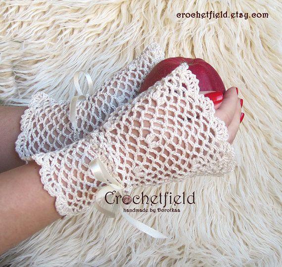 Ivory Wrist Cuffs with satin ribbon Fingerless by Crochetfield