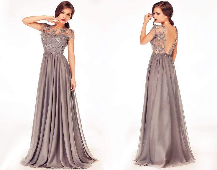 Long evening dress made from grey silk veil with lace, perfect for any wedding. #weddinggown #weddingdress