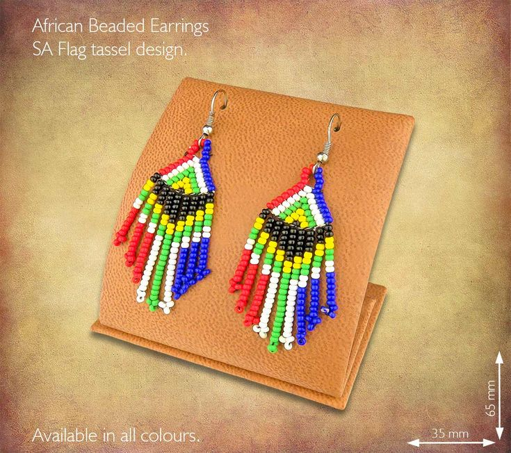 African Beaded Earrings - SA Flag  Tassel design. Handmade in South Africa by highly skilled Zulu Beadworkers. Wide range of African Beaded Jewelry available on our website www.earthafricacurio.com