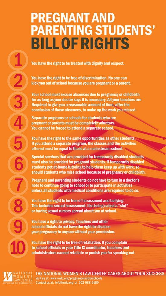 Poster Pregnant And Parenting Students Bill Of Rights By The National Womens Law Center Young Women Should Be Aware Their Legal