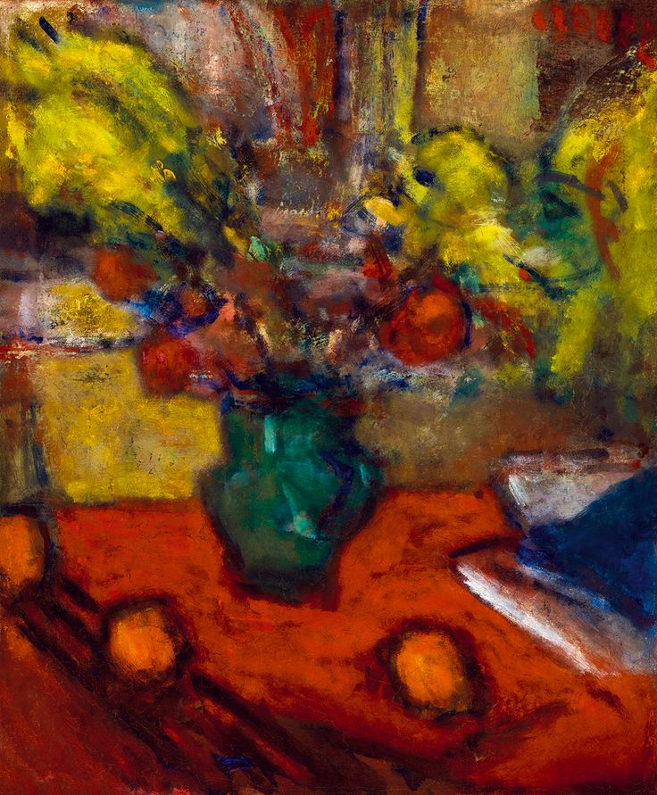 Blurry painting of flowers in a vase by Béla Czóbel