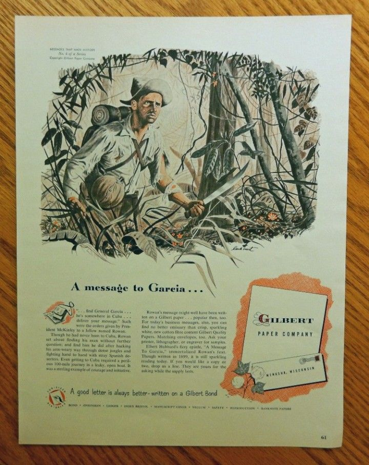 messages that made history original 50 s color illustration by lockhart a message to garcia
