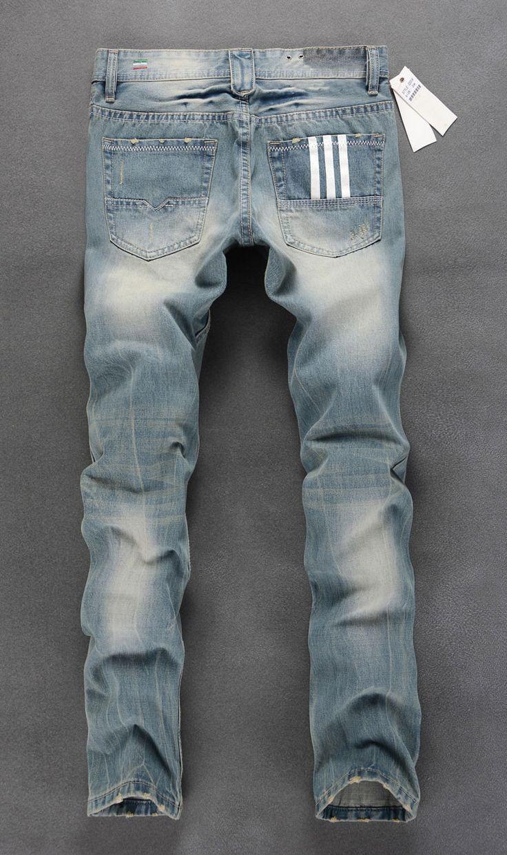 Aliexpress.com: Comprar Venta al por mayor y al por menor Itely estilo diseñador Jeans para hombre, de Color azul claro, Disel rasgados pantalones vaqueros bike hombres, Denim AD marca pantalones vaqueros. C201 de polainas jean más tamaño fiable proveedores en Jeans No.1 in China