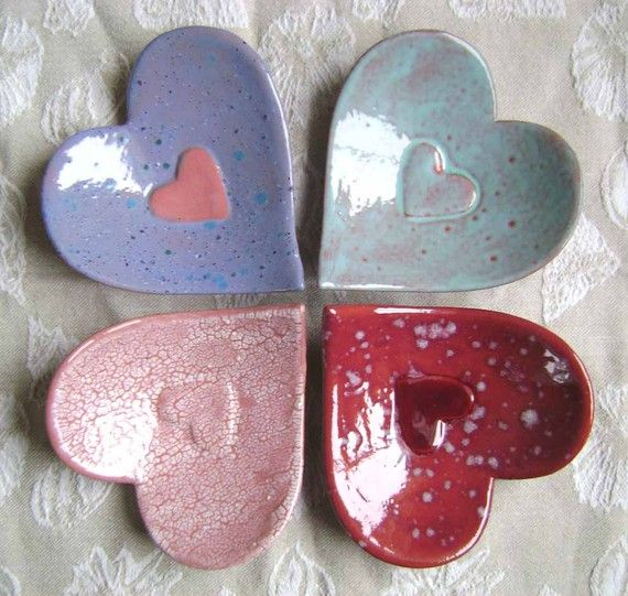 Ceramic Heart in Heart Dish, wedding, bridal, bowl, catchall, jewelry, ring dish, soap dish, candle holder, teabag holder, spoonrest.