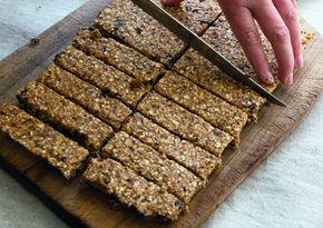 Dairy-free fruity fridge flapjacks, veganisable by substituting agave syrup for honey