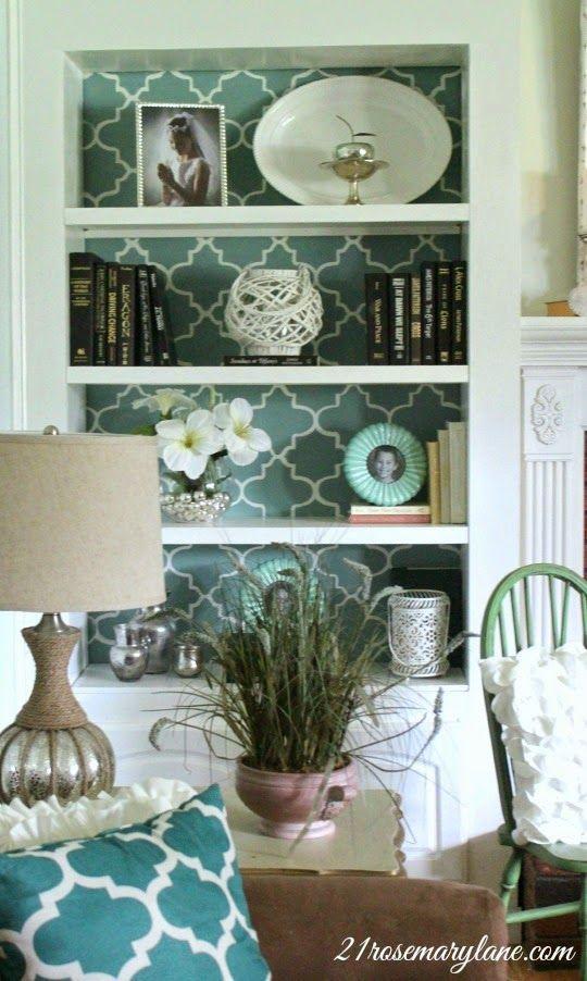 21 Rosemary Lane: Beautiful Stenciled Bookcase Wall