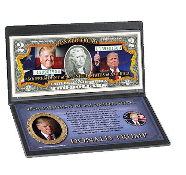 The Set of President Trump, USA, 2016 resident Trump's Set: The Bill &the coin  Appreciated or Hated Donald Trump became the 45th President of the United States. It is a historic moment marked by this Monetary Set, bringing together the authentic $ 2 Bill and Half-Dollar Kennedy, specially colored and presented on the day of the election. Delivered in his collector case