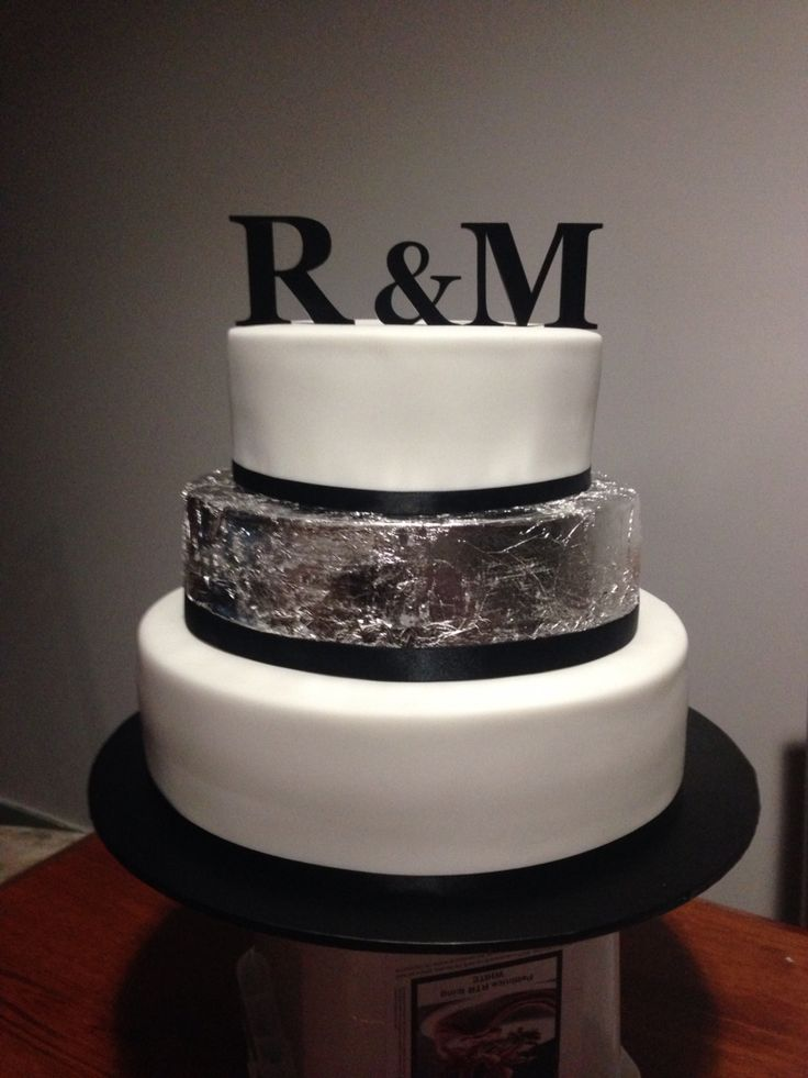 Fondant 3 layer cake with silver leaf