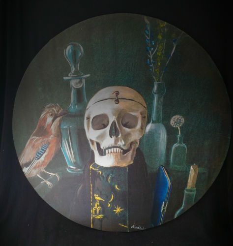 Dipinto su tavola Vanitas Memento Mori tempera paints canvas skull teschio in Arte e antiquariato, Quadri, Tempera | eBay
