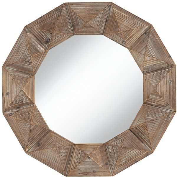"Dyan Geometric Cut Distressed Wood 31 1/2"" Round Wall Mirror ($104) ❤ liked on Polyvore featuring home, home decor, mirrors, brown, brown wall mirror, circular wall mirror, round mirror, brown mirror and round wall mirror"