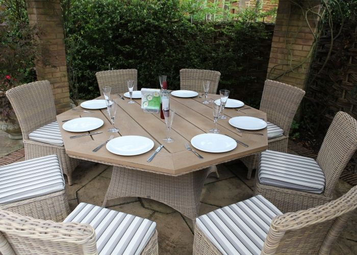 Auckland Octagonal Table with 8 Auckland Dining Chairs Fabric