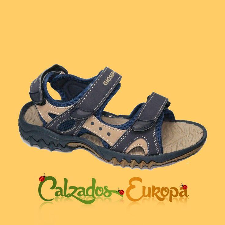 Sandalia velcros azul y beige de Gioseppo Kids