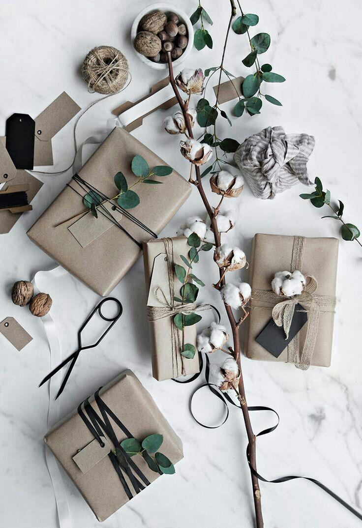 Organic greens for minimalist christmas wrapping