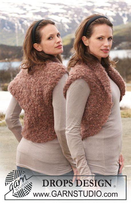 """DROPS bolero in garter st in """"Puddel"""". Size S to XXXL. ~ DROPS Design"""