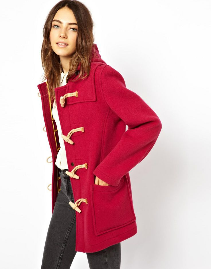 Gloverall Classic Mid Duffle Coat with Wood & Jute Fastenings ...