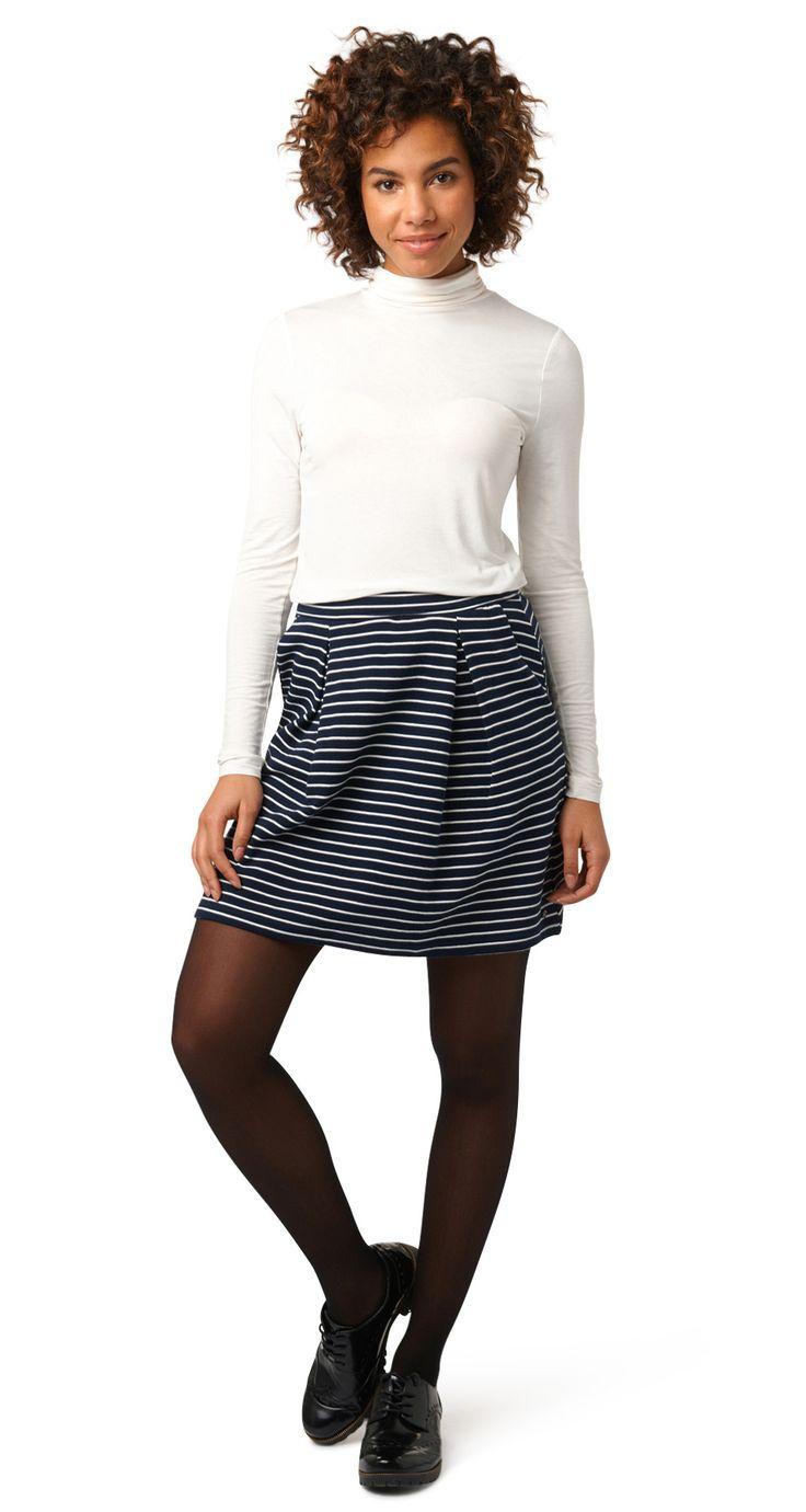 Ausgestellter Mini-Rock - structured stripe skirt von TOM TAILOR