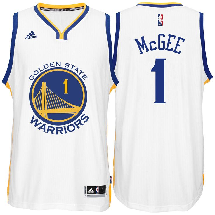 Welcome to the Revolution. Get in the game with this adidas Home Swingman Javale McGee #1 Golden State Warriors Jersey - the latest in style and design. This jersey features all-new 100% flat-back mesh and polyester braid with a stitched down, multicolor name and number screen-print capturing the colors of your favorite player's on-court gear.  FEATURES:      100% flat back mesh and polyester flat knit rib     Resembles on-court jersey in cut and aesthetics     Stitched-down twill play...