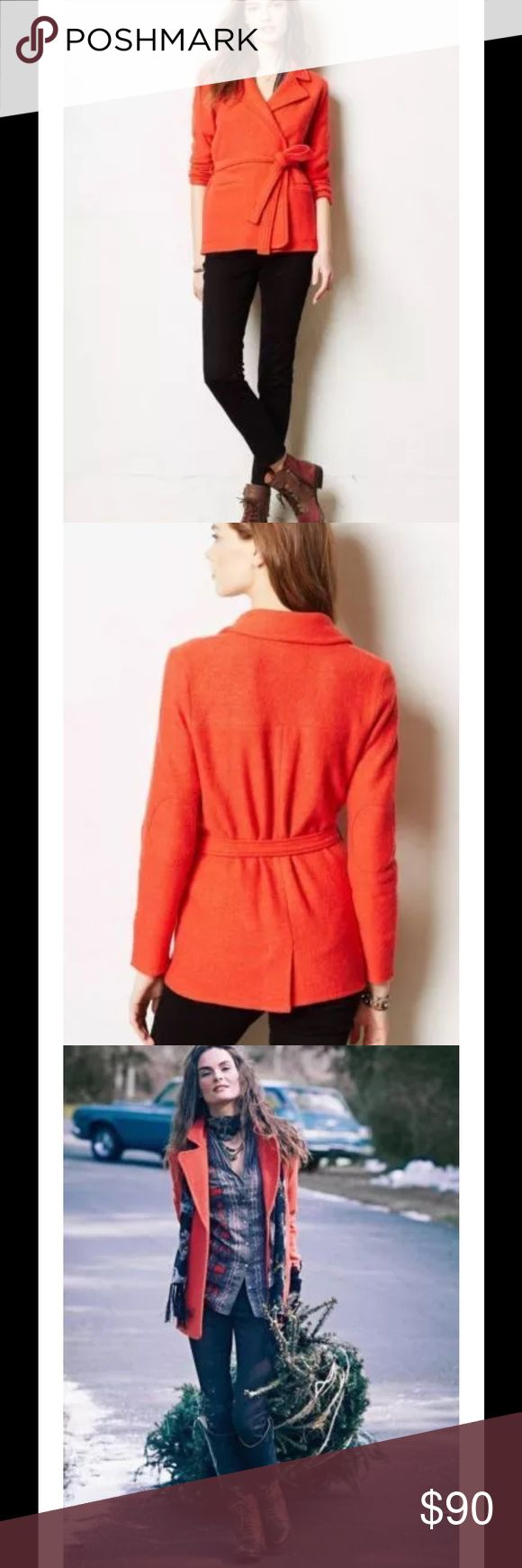 ANTHROPOLOGIE CELESTA ORANGE SWEATER JACKET $168 ANTHROPOLOGIE SPARROW CELESTA BOILED WOOL ORANGE SWEATER JACKET SZ XL  Born out of a great love of knitwear and inspired by the social birds that live on several continents, Sparrow is dedicated to  making women feel at home wherever they are.  A win-win: This cozy indoor-outdoor layer is substantial enough to nip the chill while remaining never-want-to-take-it-off chic. By Sparrow Open front Ties at waist (removable belt) Unlined Front…