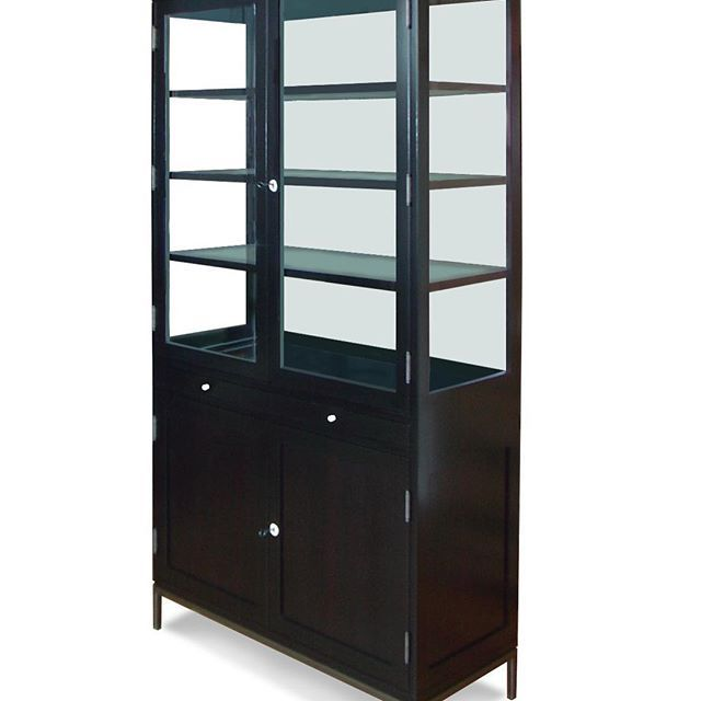 The Collector's Cabinet makes a clean, modern bar with the addition of a mirrored back, drawers, and storage cabinet.   interior design, furniture design, bookshelf, curio cabinet, display case, custom furniture, bar cabinet, custom bar, collections, wood cabinet, handmade furniture, traditional, transitional design, modern, contemporary, office, study, library, living room, high-end, luxury, midcentury modern, glass bar, display cabinet, bar display, Maxine Snider Inc.
