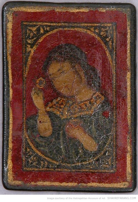 ورق بازی ایرانی، پاپیه ماشه ی لاک خورده، اواخر قرن نوزدهم. محل نگهداری: موزه ی متروپولیتن نیویورک