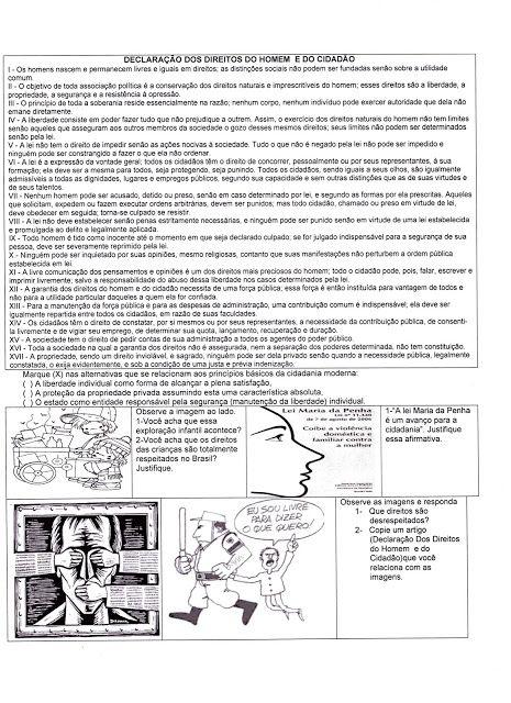 HISTÓRIA E GEOGRAFIA... TÔ POR DENTRO: Atividades sobre direitos humanos, cidadania, constituição (PAV) Revolução Francesa