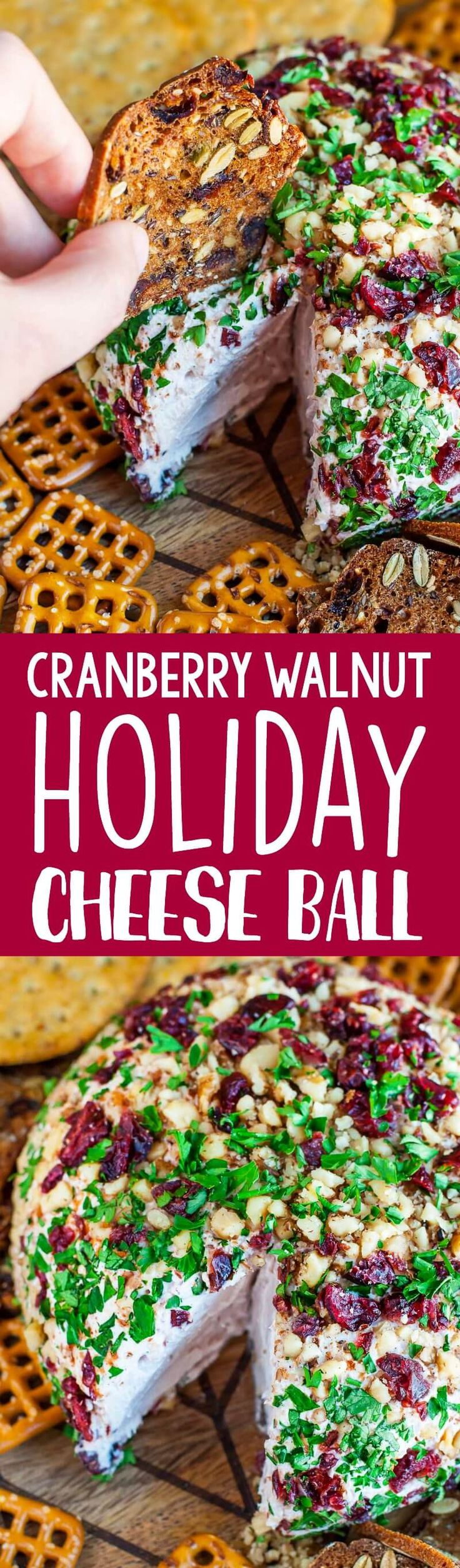Snag some leftover cranberry sauce and swirl it into this super luxe cranberry walnut holiday cheese ball!