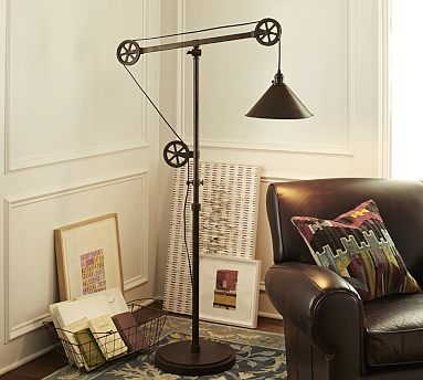 I've been hunting around ebay for a vintage industrial floor lamp but there's something to be said for not having to rewire it or worry about catching the house on fire. Warren Pulley Task Floor Lamp #potterybarn