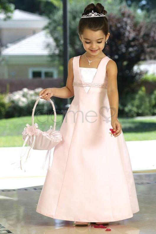 69,44€  V-Ausschnitt A-Linie Satin Prinzessin Perlen knöchellanges ärmelloses Blumenmädchenkleid