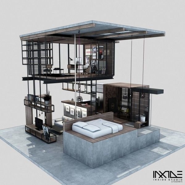 designer anway aljugrey from inxide studio has designed a modern compact house that can meet all the needs of a person or couple with significantly less - Compact House Interior