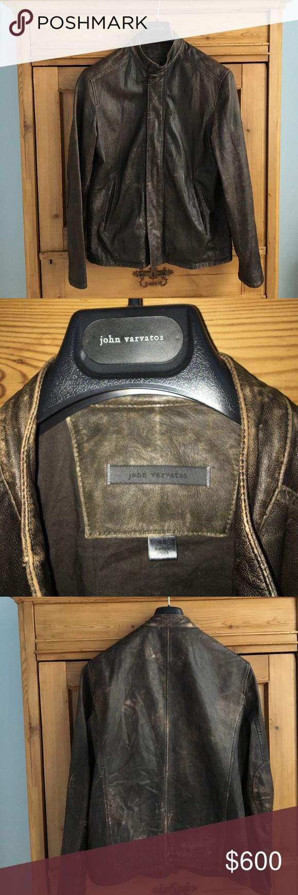 Men's brown lamb skin John Varvatos jacket Men's brown super soft lamb skin leather John Varvatos jacket. Like new size 46. All lamb skin, cotton inner lining, with one inside pocket. Zipper and hook and eye closure (see photo) as well as elbow patches of the same material. Marks you see on photo are natural leather marks, jacket was bought this way perfect condition. John Varvatos Jackets & Coats