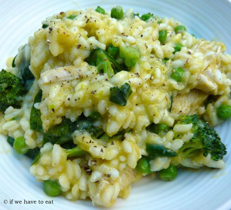 Chicken, Spinach, Pea and Broccoli Risotto