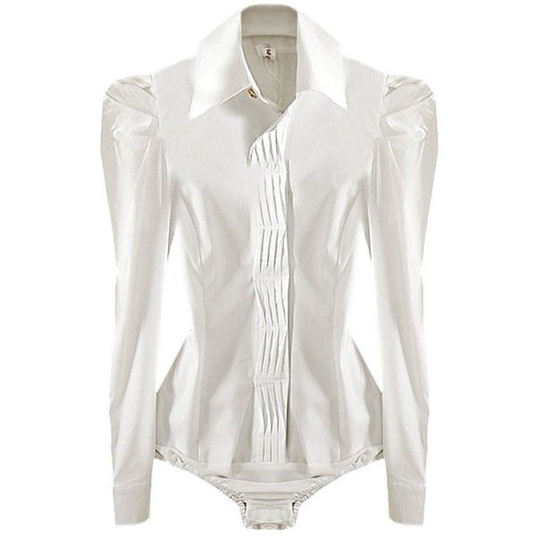 Y&Z Office Lady Pleated Long Sleeve Bodysuit Shirts Tops Slim Fit YZ49... ($20) ❤ liked on Polyvore featuring tops, white body suit, white long sleeve shirt, shirts & tops, white bodysuit and slim fit long sleeve shirts