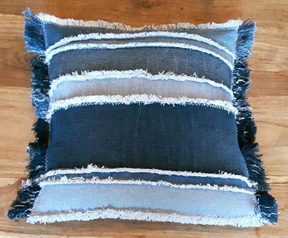 Jenniwren Originals Patchwork Cushion Cover Handmade using recycled denim and featuring 7 patches of different widths and shades sewn together. Individually hand frayed all around with an envelope opening on the back Size approximately 16 inches square Machine Washable Cushion