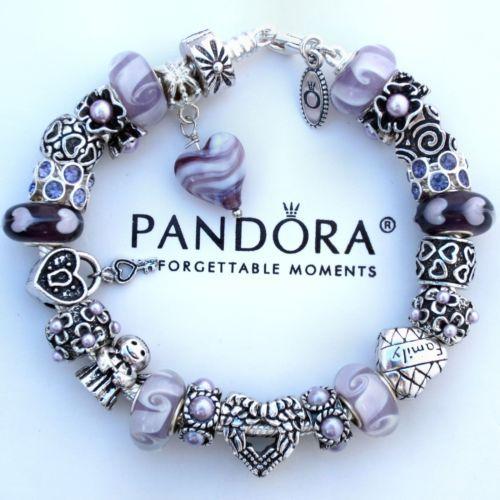 New Authentic Pandora Bracelet w/ Lavender Angel Heart Love Bead Charm Beads