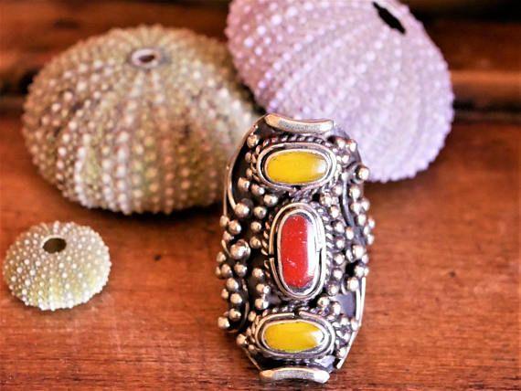 Etnia tibetana alargado joyería tibetana anillo Coral y
