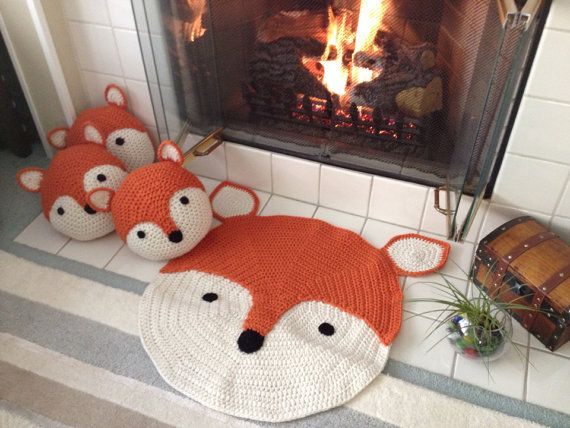 One of our FAVORITE creations is ( Linus) the most adorable fox rug. 26 round and comes in a wonderful pumpkin orange and off-white. Makes a