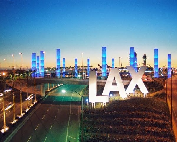 Iconic Los Angeles - Encounter Restaurant at the LAX Theme Building.  LAX Sign and Pylons