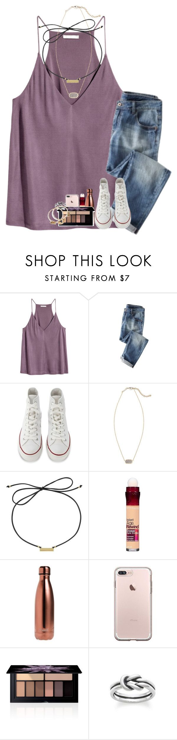"""""""study date with ella today"""" by kyliegrace ❤ liked on Polyvore featuring H&M, Converse, Kendra Scott, Laundry by Shelli Segal, Maybelline, S'well, Smashbox, Avery and Alex and Ani"""