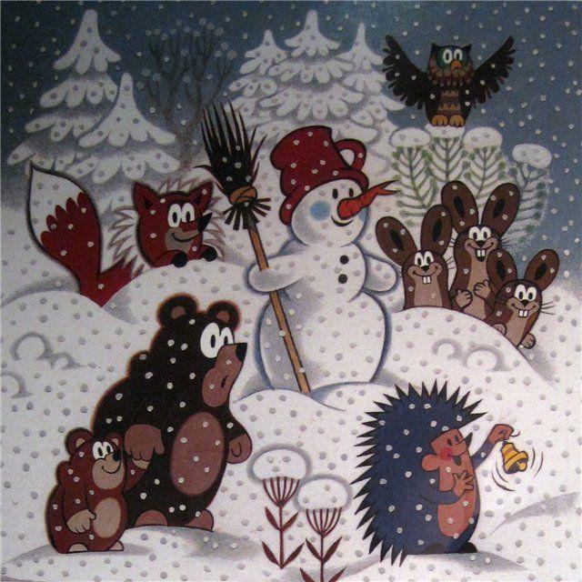 (2015-02) Snevejr med ræven, harerne, uglen, bjørnene, snemanden; pindsvinet ringer med en klokke