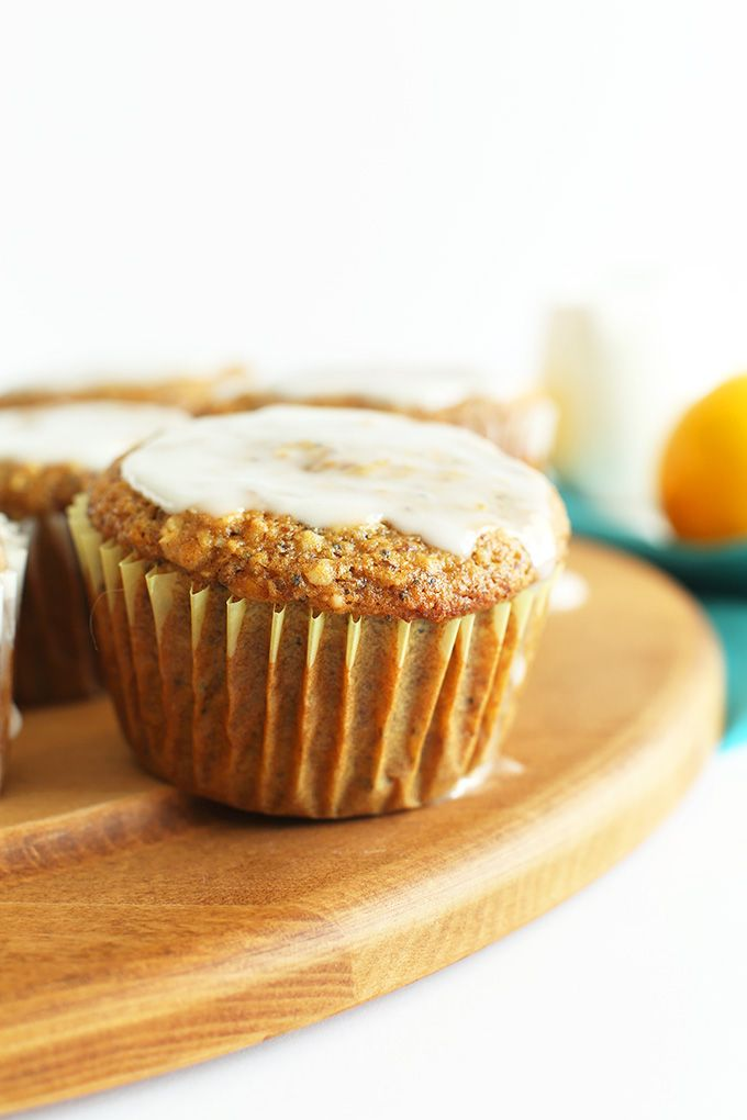 Meyer Lemon Poppyseed Muffins! Vegan, healthy and require just 1 bowl! #vegan