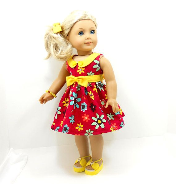 """18"""" doll summer dress fit American Girl dolls red with yellow trim includes hair tie. $18.00, via Etsy."""