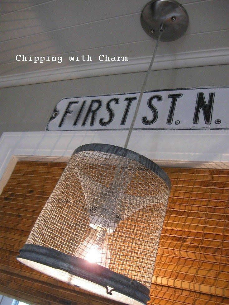 Chipping with Charm: Minnow Basket Light Fixture...http://www.chippingwithcharm.blogspot.com/