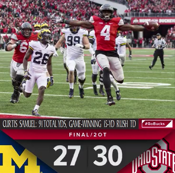 11-26-2016 GAME #12 THE GAME FINAL SCORE AND CURTIS SAMUEL WINNING TD.