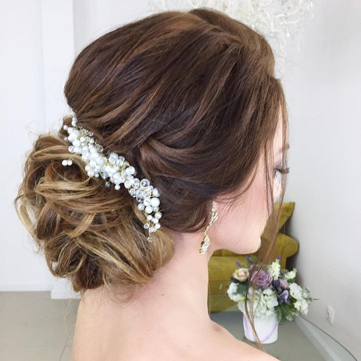 Beautiful Low Updo Hairstyle For Romantic Brides